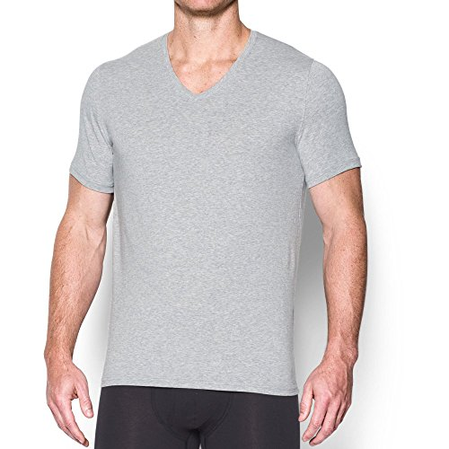 Under Armour Charged Cotton V-Ausschnitt Unterhemd – 2er Pack, Herren, True Gray Heather/ Black (Kurzarm-unterhemd Under Armour)