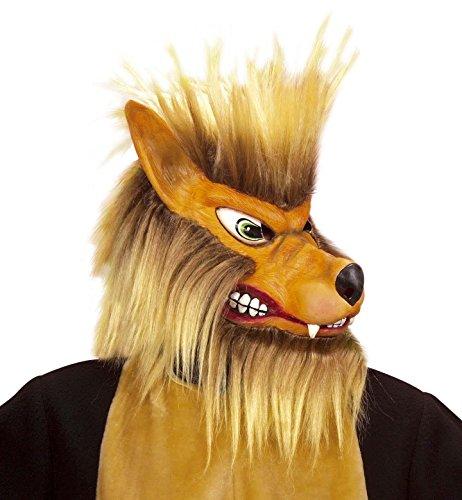 Widmann-Maske Wolf mit Bart und Haar aus Plüsch
