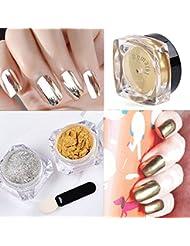 Demarkt 2 Pots Poudre Magique Effet Miroir Or Argent Scintillement Nail Art Manucure (3g/boîte)