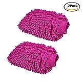 Veewon Wasserdicht Mikrofaser-Handschuh Big beiden Seiten Chenille Car Wash Mitt Handschuhe Reinigungstuch für Auto und Haus Duster Reinigung - 2 Stück (Lila)