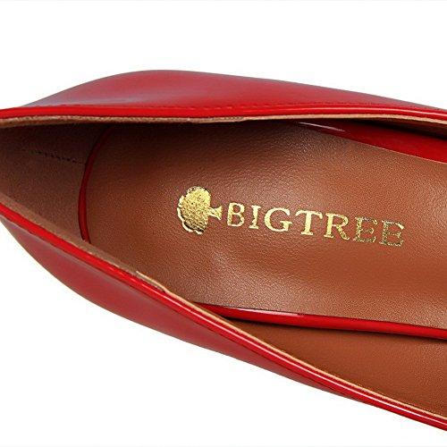 AalarDom Femme Matière Souple Couleur Unie Stylet Pointu Chaussures Légeres Rouge-Verni