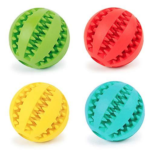 Fippy 4 STÜCKE Haustiere Hund Kauen Spielzeug Ball, Gummiball, Hund Zahnreinigung Ball, Interaktive Hundespielzeug (1 * Blau + 1 * Grün + 1 * Rot + 1 * Gelb) -