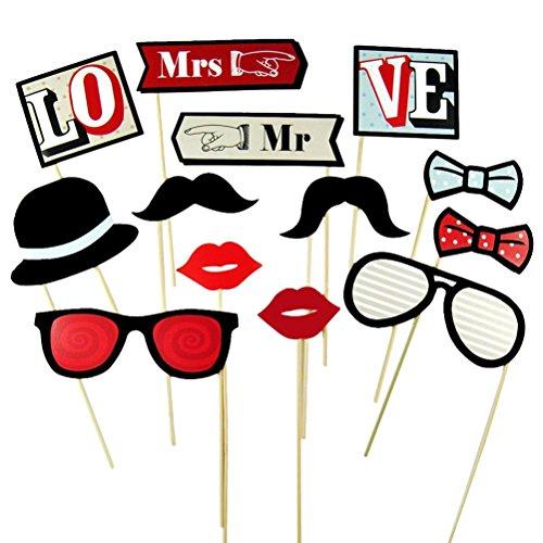 Tinksky 13pcs Photo Booth puntelli Mustache Occhiali Mr e Mrs