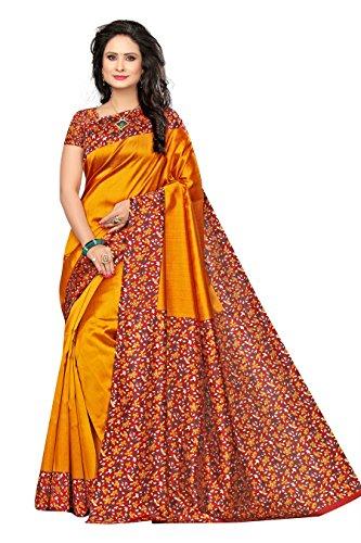 Rangreza Women's Stylish Mysore Kalamkari Silk Dark Yelow Floral Printed Saree with...