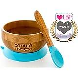 Bowl adherente para bebé y set de cucharas en combinación, Bowl que no se despega de la mesa al comer, Bambú natural
