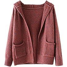 iPretty Rebeca de punto otoño invierno bolsillo sudadera con capucha Casual Corto Sweater Coat