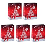 Sigel GT022 Lot de 5 sacs cadeaux Noël, 33 x 26 cm, rouge et blanc