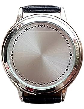 BlueVega Kunstleder Armband Uhr-Vorwahlknopf-Edelstahl-Berühren Sie den Bildschirm LED-Blau-Silber