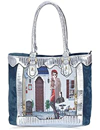 27b1547e79 Krish Blue Denim Printed Embellished Ladies Shoulder bag Multipurpose  Handbag for Women and Girls