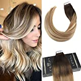 Ugeat 16 Zoll 20 Stuck 50gram Pastel Ombre Haarfarbe # 2 Dunkelstes Braun Fading to # 613 Blonde Tape in Remy Hair Extensions Echthaar Tape
