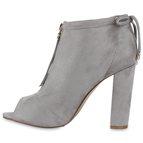 Damen Stiefeletten Sandal Boots High Heels Zipper Schuhe Grau