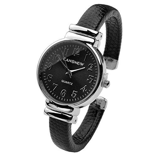 Jsdde Damen Armbanduhr mit Armreif, analog, Schwarz