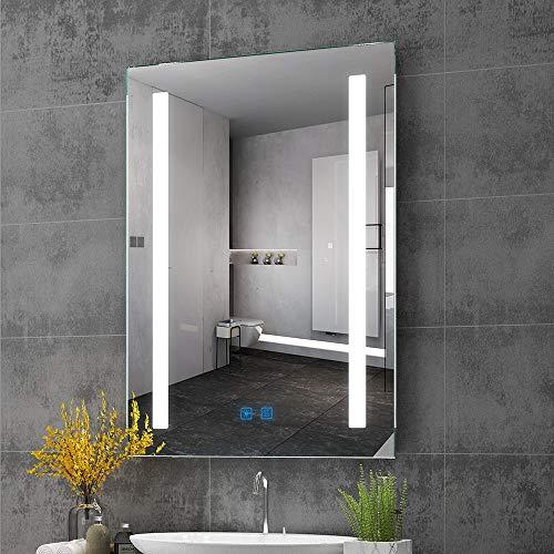 Quavikey LED Badezimmer Wandspiegel mit rechteckigem Licht beleuchtet Badspiegel Badezimmerspiegel Lichtspiegel Schminkspiegel Badezimmer Spiegel mit Touchschalter Kosmetikspiegel 500 x 700 mm 500 Led-licht