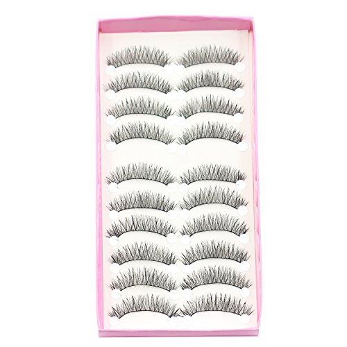 Preisvergleich Produktbild Bluelans® 10 Paar Lang Kreuz Falsche künstliche Wimpern Dick Schwarz Eyelasches Wimpernverlängerung