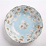 YUWANW Underglaze Farbe Keramik-Geschirr Teller Suppenteller Teller Teller frisch Magnolie 6.7 inches
