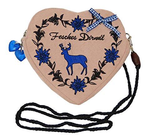 SR Damen Dirndltasche - Trachtentasche Herz Umhängetasche - Herztasche zum Dirndl (Fesches Dirndl Hirsch blau (altrosa))