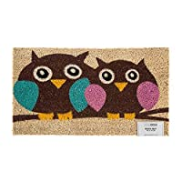 HOMESCAPES - Door Mat - Owl Love - 40 x 70 cm - 100% Natural Coir - Indoor and Outdoor Doormat
