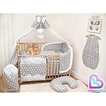Baby Comfort - Set da 12pezzi imbottiti per culla con lenzuolo/set copripiumino e piumino/paracolpi/baldacchino e asta