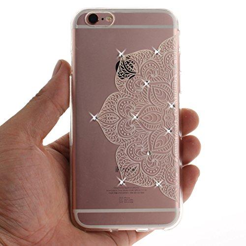 Apple iPhone 6/6S Coque, Voguecase (Diamant bling)TPU avec Absorption de Choc, Etui Silicone Souple Transparent, Légère / Ajustement Parfait Coque Shell Housse Cover pour Apple iPhone 6/6S 4.7 (creuse Demi-fleur