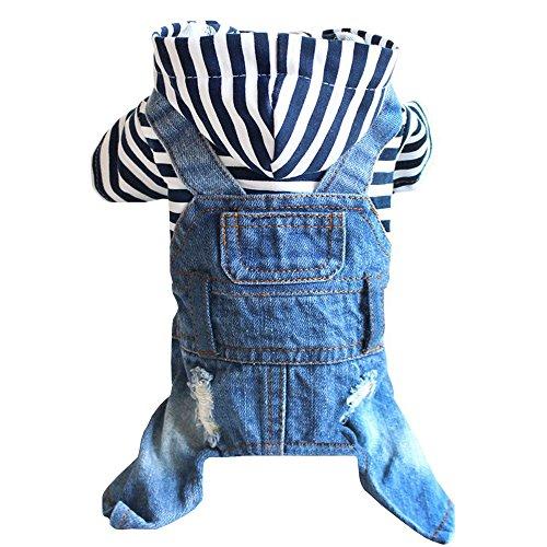 Sild Coole Vintage Washed Denim Jacke Jumpsuit Blau Jean Kleidung für kleine Haustiere Hund Katze/3Styles (Dog Kostüme Menschen Für Cute)