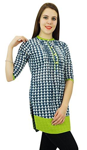 Phagun Femmes Motif Géométrique Kurti Ethnique Top Coton Concepteur De Robe Tunique Blanc et bleu marine