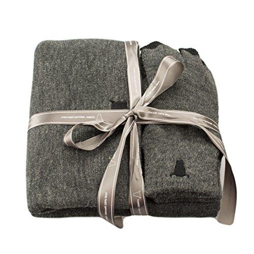 TORRO Sciarpa, cappello Beanie e touch screen digitale Glove Set - Tutti 100% lana Premium in Charcoal Grey