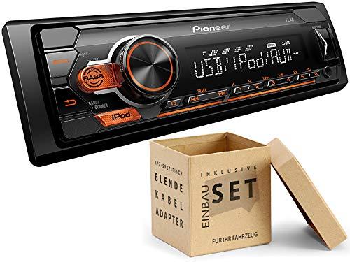Pioneer MVH-S110UI 1 DIN Autoradio mit USB AUX Shortbody für VW New Beetle Cabrio 1Y 2003-2010 schwarz