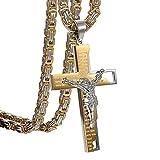 Herren Halskette mit Kreuz Bibel Gebet Anhänger, Vintage Biker Edelstahl Jesus Kruzifix Anhänger mit Königskette Ketten 55cm, Schwarz Silber (Bibel Gebet Jesus)
