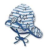 Sterntaler Flapper für Jungen mit Nackenschutz, Klettverschluss und Streifen- und Sternenmotiv, Alter: ab 18-24 Monate, Größe: 51, Kristallblau