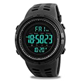 Digitale Herren-Armbanduhr, Sportuhr, Militäruhr, wasserdichte Armbanduhr mit Kalender, Stoppuhr, Alarm in schwarz
