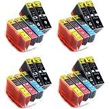 AVEC PUCE !!! 20 Cartouches d'encre compatible pour les imprimantes Canon Pixma IP 4820, 4850, IX 6520, 6550, MG 5120, 5150, 5220, 5250, 6120, 6150, 8120, 8150, MX 882, 885, 715, 895 compatible á Canon PGI-525BK / CLI-526BK / CLI-526C / CLI-526M / CLI-526Y / 4x Noir + 4x Photonoir + 4x Cyan + 4x Magenta + 4x Jaune avec PUCE Silvertrade