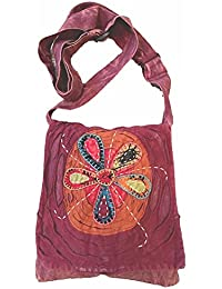 Maroon Handmade Hippie Boho Cross Body Passport Bag With Hand Sewn Flower By The Boho Hippie
