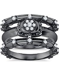Silvernshine 14K Black Gold Plated 1.26Ct Round Cut Clear CZ Diamond 3PC Cluster Setting Skull Ring