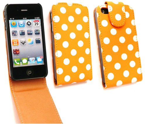 Emartbuy® HD Premium Pu Leather Flip Case/Cover/Pouch Polka Dots Orange / White For Apple iPhone 4S 4 4G 4Gs  available at amazon for Rs.250