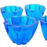 Rotix 4 x Teelicht-Gläser blau Teelichtglas Kerzenglas Teelichthalter Windlicht Blumen-Form schwere Ausführung