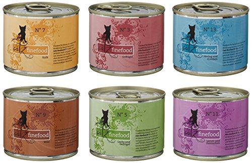 catz finefood Multipack 1 Katzenfutter nass, Geschmack N° 3-13 Mix-Paket, 6 x 200g Dosen