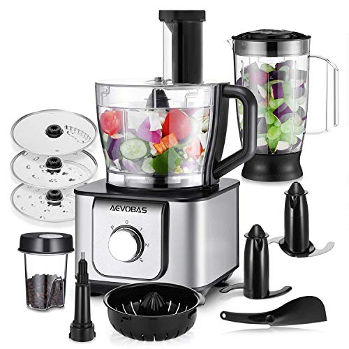 AEVOBAS HGM406 Robot Multifonction, 1100W Robot de cuisine, 3 Disques Moteur, 11 in 1, Hachoir Electrique, Blender, Mixeur Batteur, Presse-fruits, Moulin à café, 3.2L Collection Bol et 1.5L Blender