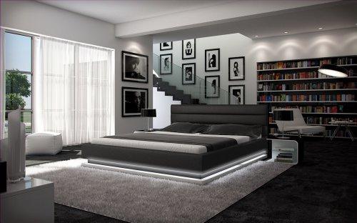 SAM Polsterbett 200x200 cm Ripani, Kunstleder schwarz/weiß, LED-Beleuchtung, abgestepptes Kopfteil, pflegeleichtes Bett