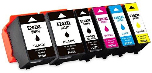 6 compatibili 202 202xl cartucce d'inchiostro per epson expression premium xp-6000 xp-6005 - nero/nero foto/ciano/magenta/giallo, alta capacità (bk: 550 & pbk: 800 & c/m/y: 650 pagine)
