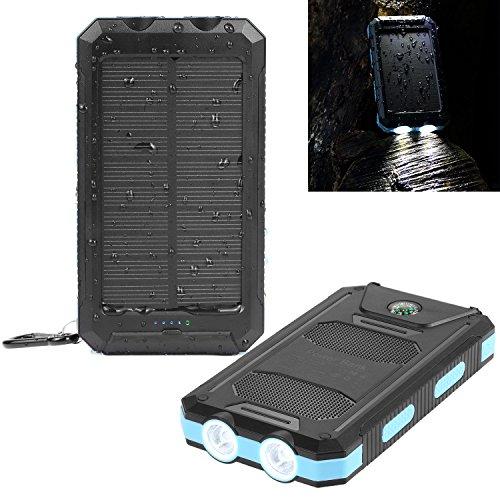 Solar Ladegerät, NexGadget wasserdicht 10000mAh Dual USB-Solar Charger mit 2 LED-Taschenlampe,Wasserfest Solar Powerbank,staubdicht und stoßfest , Externer Akku mit Kompass und Karabiner für iPad / iPhone / Android smartphone/Tablett/ GoPro Kamera / GPS usw.