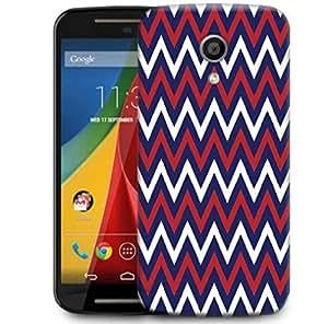 Snoogg Blue Red Pattern 2541 Designer Protective Phone Back Case Cover For Motorola G 2nd Genration / Moto G 2nd Gen