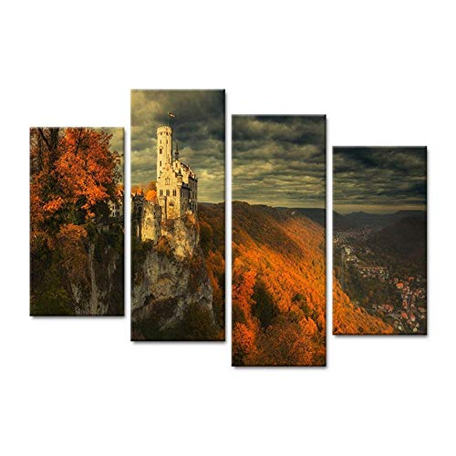 FYBSNDY Canvas Picture Hd Print Wall Art 4 Pieces Cliff Castle Scenery Living Room Home Decoration Painting Poster 40X80Cmx2 40X100Cmx2 Without Frame -