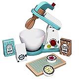 TikTakToo Spielküche aus Holz Natur zum Mitnehmen mit reichhaltigem Zubehör, Töpfe, Teller, Mixer für Kinder aus Holz, Toaster (Mixer)