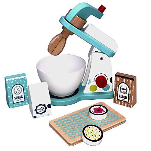 TikTakToo Spielküche aus Holz Natur zum Mitnehmen mit reichhaltigem Zubehör, Töpfe, Teller, Mixer...