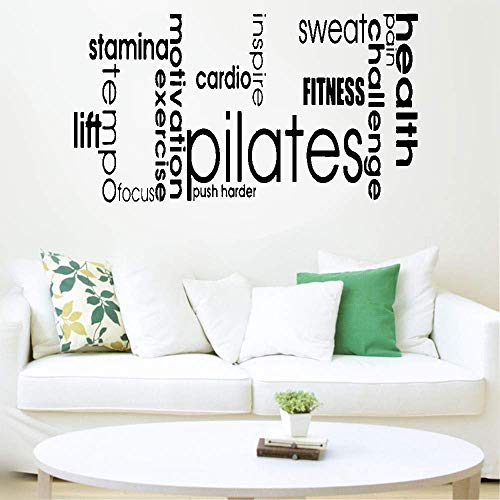 wandaufkleber grau Pilates Words Fitness Sweat Cardio für Yoga-Studio