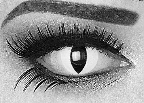 Funnylens 1 Paar farbige schwarz weise weisse crazy Jahres Kontaktlinsen ohne Stärke crazy contact lenses Katzenauge weiß Viper Cat Eye 1 Paar perfekt zu Fasching mit Verdrehschutz! Mit gratis Linsenbehälter perfekt für Fasching und Karneval.