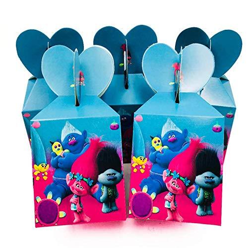 Trolls Thème Enfants Joyeux Anniversaire Fête Décoration Plaque Tasse Serviettes De Paille Loot Sacs Vaisselle Jetable Fête Supplie Faveurs, Bonbons Boîtes 6Pcs