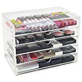 CO-Z Acryl Makeup Box Kosmetik Aufbewahrung Kosmetik Organizer Aufbewahrungsbox Schminke clear Cosmetic Organizer Organiser set Storage Drawers mit 5 Schubladen für Home Bedroom Bathroom Bad