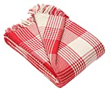 EHC Premium Reversible 100% Large 225 x 250 cm Tartan Throws for Sofa, Bedspread, Cotton, Red, King