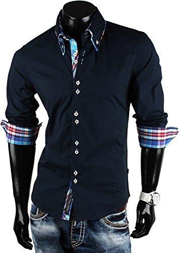 CARISMA Herren Hemd Slim Fit Langarmhemd in verschiedenen Farben Marine-Blau